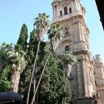 Torre de la Catedral de Málaga y jardines.