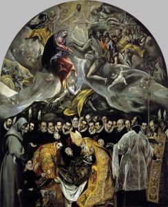 El entierro del Conde Orgaz, El Greco. En la Iglesia de Santo Tomé, Toledo.