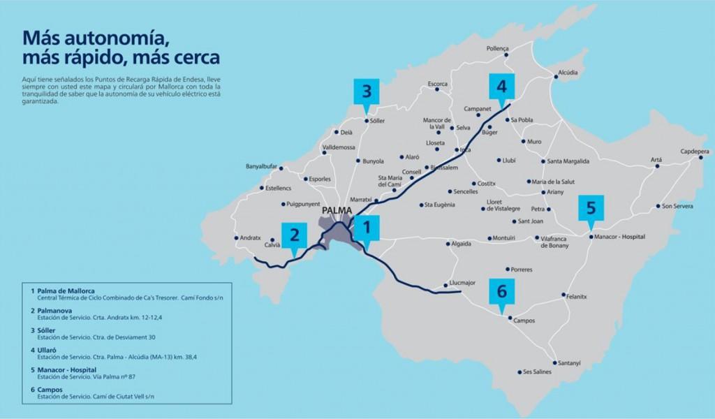 Mapa Puntos de Recarga Rápida de Endesa