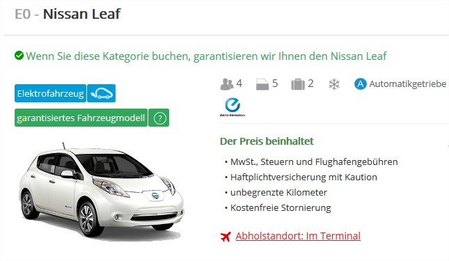 Mietwagen Nissan Leaf